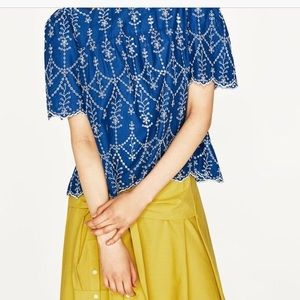Rebellion Blue and White Blouse Scalloped …